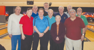 Some of the local avid bowlers include from left, front row. Ray Bardol, Al Brant, Dom Quinzi, Jack Curran, Joe Argento. In the back row from left are Charlie Gfeller, Ken McJury, Joe Shullek, Steve Nowicki, Al Emerson, Joe Robbins.