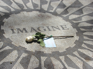 "In Central Park, two places of special interest are the Strawberry Fields with the ""Imagine"" mosaic located across the street from the Dakota where John Lennon was killed."