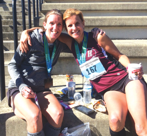 Colleen Magnussen blossomed from a newbie to claiming a title in the USA Track & Field Masters National Grand Prix Championships. Last year, she took second place in an individual 10K championship race. Magnuson, left, is pictured with a fellow runner. They both qualified for the Boston Marathon.