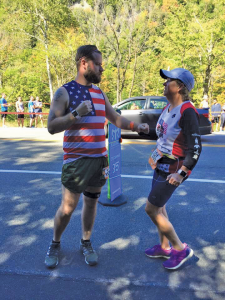 Deb Demott and her son. They've run several races together, including this one, the Ragnar relay, where a team of 12 runners runs 200 miles (each of them runs a chunk, totaling 200).
