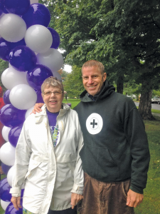 Jean Laitenberger with her son, Jay Laitenberger, at an Alzheimers awareness event. She has been very active in many organizations in the Victor area.