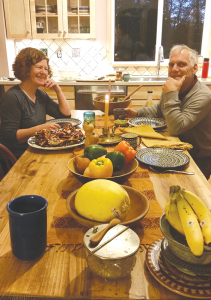 The Odhners during a recent dinner at their home.