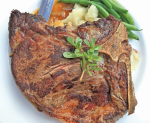 The steak is prepared simply — salt, pepper and deeply browned to the desired medium-rare — but properly.