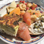 Belhurst Edgar's quiche, bagel, tomato pasta salad: A selection of sliced cheese, tomato and orecchiette pasta salad, spinach, onion and cheddar quiche and a toasted bagel with cream cheese, smoked salmon, capers and chopped egg.