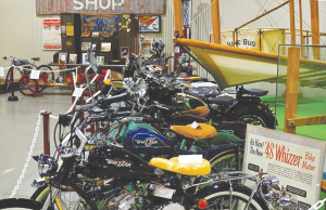 The museum has a recreation of Curtiss' motorcycle shop, his bikes and vintage British bikes.