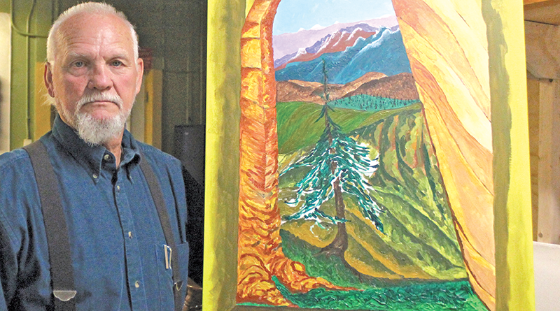 John Henry Green holding one of his unfinished paintings —an acrylic on canvas depicting a transition from tree to a gothic structure window view into the distance.