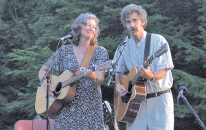 Peggy and Dan Duggan performing together. The couple lives in Wolcott and has a very busy season from April through November.