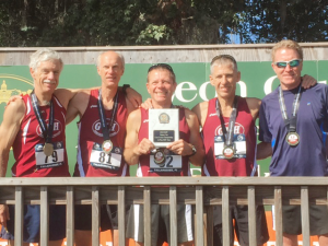 Participating in the Tallahassee National Club XC Championship last December are local runners Tim McMullen, Bill Beyerbach, Gary Radford, Mark Rybinski and Gary Moore.