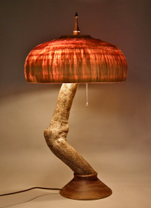 Lamp shade created by Chuck Willard. The wood came from an old oak tree that once was at a family home in Canandaigua.