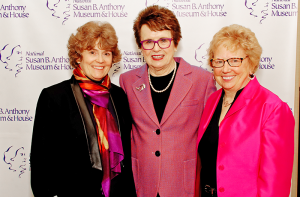 Deborah Hughes, president of the National Susan B. Anthony Museum & House (left) with partner Emily Jones (fight) of Greece, and Billie Jean King, sports icon, humanitarian, and champion of equal rights (center) who was the keynote speaker last year at the 2016 Susan B. Anthony Birthday Luncheon at the Joseph A. Floreano Rochester Riverside Convention Center in Rochester. The luncheon is held each February in honor of women's suffragette heroine Susan B. Anthony's birthday.