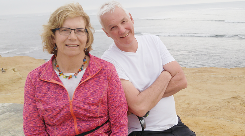 Martha Bush and her husband John Tracey have adopted what many consider reverse roles. He has been the stay-at-home caregiver while she is the off-to-the-office corporate type. Photo taken in March during their vacation in California