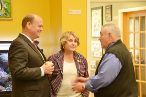 Gary Mervis (right,) talks with Rep. Louse Slaughter (D-Fairport) and Rep. Tom Reed (R-Corning) about Cancer Mission 2020, a grass-roots initiative with a goal to put an end to cancer. Mervis presented signatures in support of the project to Reed and Slaughter to give to then Vice President Joe Biden.