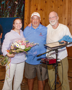 Gary Mervis (center) founder of Camp Good Days and Special Times and Bat McGrath (right) a folk singer from Tennessee and his wife, Tricia Cast during the camp's Doing A World of Good summer program, a program for children from around the world who have cancer. McGrath composed a song for Camp Good Days in 2015.