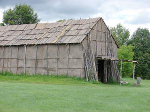 A 17th-century Seneca bark longhouse located at Ganondagan state historical site in Victor. The Seneca's matriarchal society helped inspire the 1848 Declaration of Sentiments that led to voting rights for women.