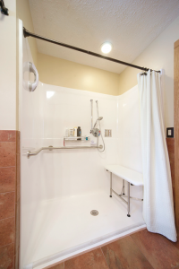 Grab bars in the bathroom, wide doors and hallways are some of the recommendations contractors make to people who plan to age in place. Photos courtesy of Albright Remodeling, Canandaigua.