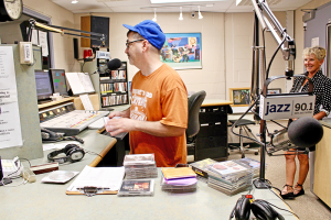 Jazz 90.1 DJ Otto Bruno sets up a disc for play in the studio