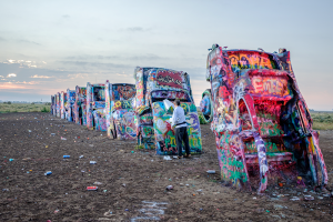 A shot of the Cadillac Ranch in Amarillo, Texas, when the duo arrived at dawn.