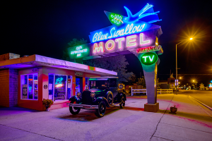 The Blue Swallow Motel in Tucumcari, New Mexico, along the Route 66 trail.
