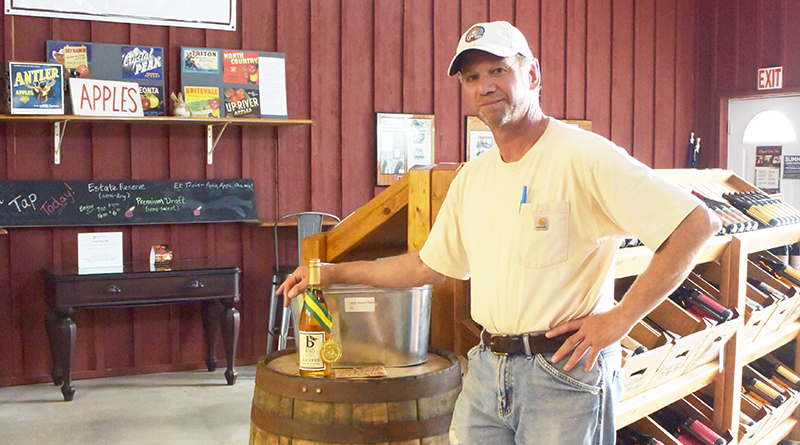 Scott Donovan of Black Bird Cider Works in Barker along the Niagara Wine Trail. The business claims to be Niagara County's first sole craft hard cider producer. Nestled on a beautiful farm overlooking Lake Ontario, it produces hard ciders made from apples grown in its own estate orchard.