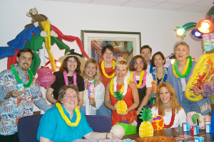 Dixon Schwabl employees dress up for Hawaiian Day at the office.
