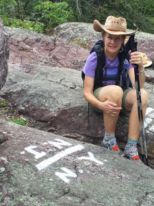 """Jewel Burr at the end of her Appalachian Trail trip. """"A lot of women go alone. You'll be fine, safer than downtown Elmira at night,"""" Burr says."""