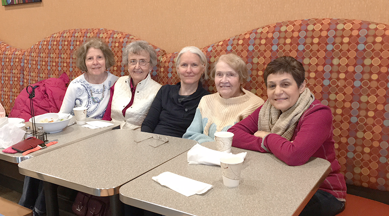 Five girls: They met by chance more than 12 years ago at Rochester Athletic Club in Pittsford — not many people were exercising at the gym at 5:30 in the morning. Their relationship and their love for working out have remained to this date. From left: Anne Parker, Jane Dieck, Patricia Denham, Joan Blair and Elaine Horesh.