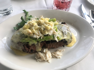 Rib-eye Oscar: Any steak can be made Oscar style, which adds a generous portion of crab, asparagus and béarnaise sauce.