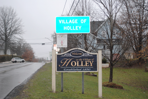 Entrance of the village of about 1,800 people.