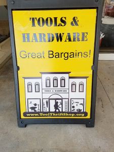 Sign promoting the bargains the store offers.
