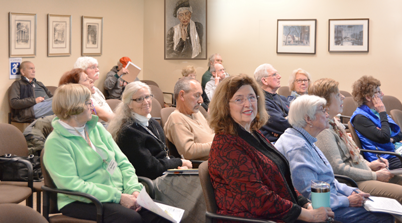 """Jane Eggleston, in front, looking at the camera, moved back to Rochester after living in Florida many decades. She said she discovered Osher Lifelong Learning Institute. """"My energy is restored by being among people who are curious, active learners,"""" she says."""