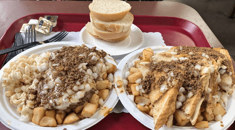 The cheeseburger and grilled cheese garbage plates at Nick Tahou Hots.