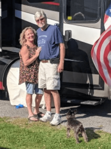 Patty and her husband Brian Pritchard. Couple plans to sell their home in Sterling and travel full time in their RV.