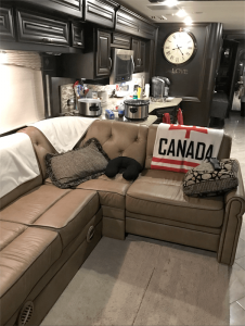 Pritchard's RV has a wide range of amenities, including electric fireplace, king size Sleep Number bed, dishwasher, induction cook top, microwave convection oven, on-demand hot water shower unit, and a full-sized refrigerator. It's a 2016 Forest River Charleston 430 RB  valued at $250,000.