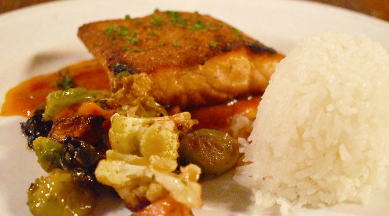 Faroe Island salmon ($26). This seared fish is served with a ball of jasmine rice and vegetable medley, which consisted of Brussels sprouts, sweet potato and cauliflower.