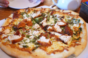 Xerox pizza: The wood-fired pizza ($17) is topped with arugula, pancetta and chicken, plus mozzarella and ricotta cheeses. Instead of olive oil, lemon garlic butter adds that extra flavor.