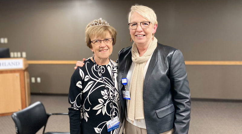 "Highland Hospital Patient Relations Coordinator Dorothy ""Dottie"" Haelen, left, with Highland Chief Operating Officer Cindy Becker."