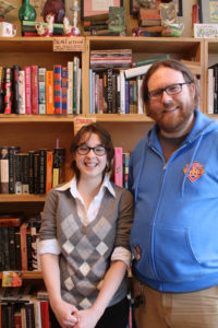 Kay Szewczuk and husband Graham Tedesco-Blair, onwers of White Paw Books & Curiosities shop in Newark.
