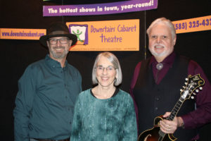 The Maria Gillard Trio — from left, Doug Henrie (bass), Maria Gillard and Perry Cleaveland (mandolin, fiddle, vocals) — during a performance March 11 at Downstairs Cabaret Theatre in Rochester. Photo by John Addyman.
