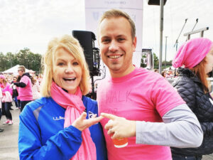 Covering a breast cancer walk in Rochester last year with colleague Andrew Banas. Photos provided.