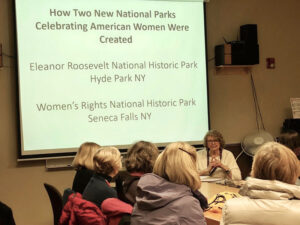 Nancy Dubner (facing camera) teaches a class at the Osher Lifelong Learning Institute at RIT on two national park projects she successfully drove — the creation of the Eleanor Roosevelt Val-Kill National Historic Park and the Women's Rights National Historic Park.