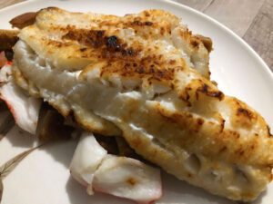 "The broiled haddock was filled with what is described as a ""crab meat stuffing."" Very good option."