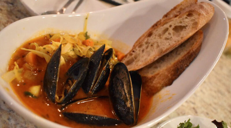 The French fish stew composed of white fish (haddock this time), scallops, mussels and veggies.