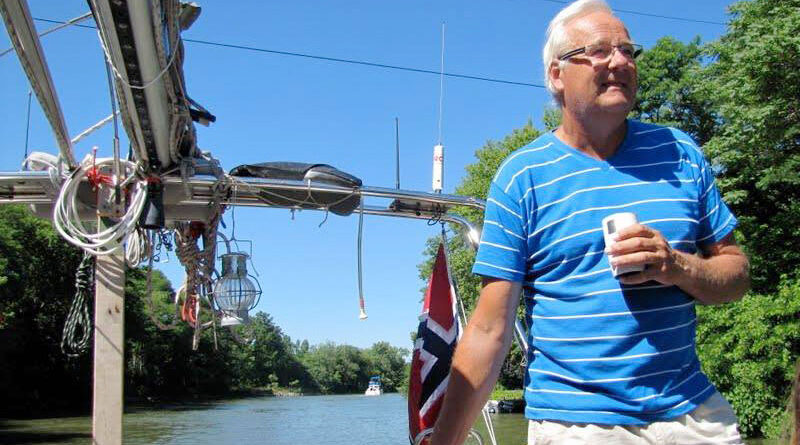 Harald Solfjeld, a Norwegian national, has been sailing the world for more than 10 years. He recently made a stop in Brockport. Photo by Lori Skoog