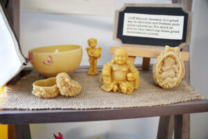 Molded beeswax figures