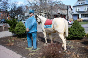 """Chubby,"" painted by artist Vincent Massaro, is a replica of the mascot horse of Firehouse No. 6 on University Avenue, which is now home to Craft Company No. 6. Chubby is joined by a faithful volunteer."