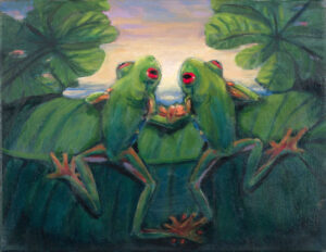 Paintings by Margot Fass. It's all about frogs at the Frog House.