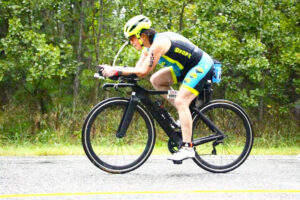 Pam Cooper-Vince rides her bike in the Atlantic City Triathlon.