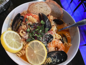 Nothing fishy about the seafood fra diavolo ($24). It's a hearty seafood dish served with rotini pasta, onions and peppers.