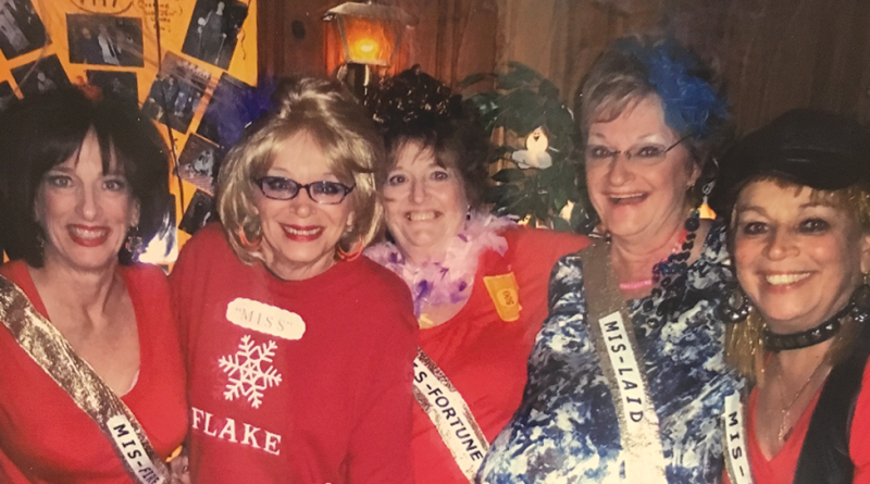 Friends being goofy and dressed up for Halloween in 2008: Peggy Schmitt Taylor, Cathy Horn Page, Patty Tyrell Darling, Kathy McDonough Olney and Kathy O'Hara Macartney.