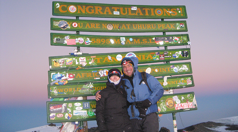 Kevin Flynn and his wife, Maggie, pose on the summit of Mt. Kilimanjaro in 2014.He said when he was young he never imagined he would develop a passion for mountain climbing, which started in his 40s.